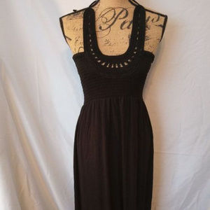 Banana Republic Black Halter Maxi Dress